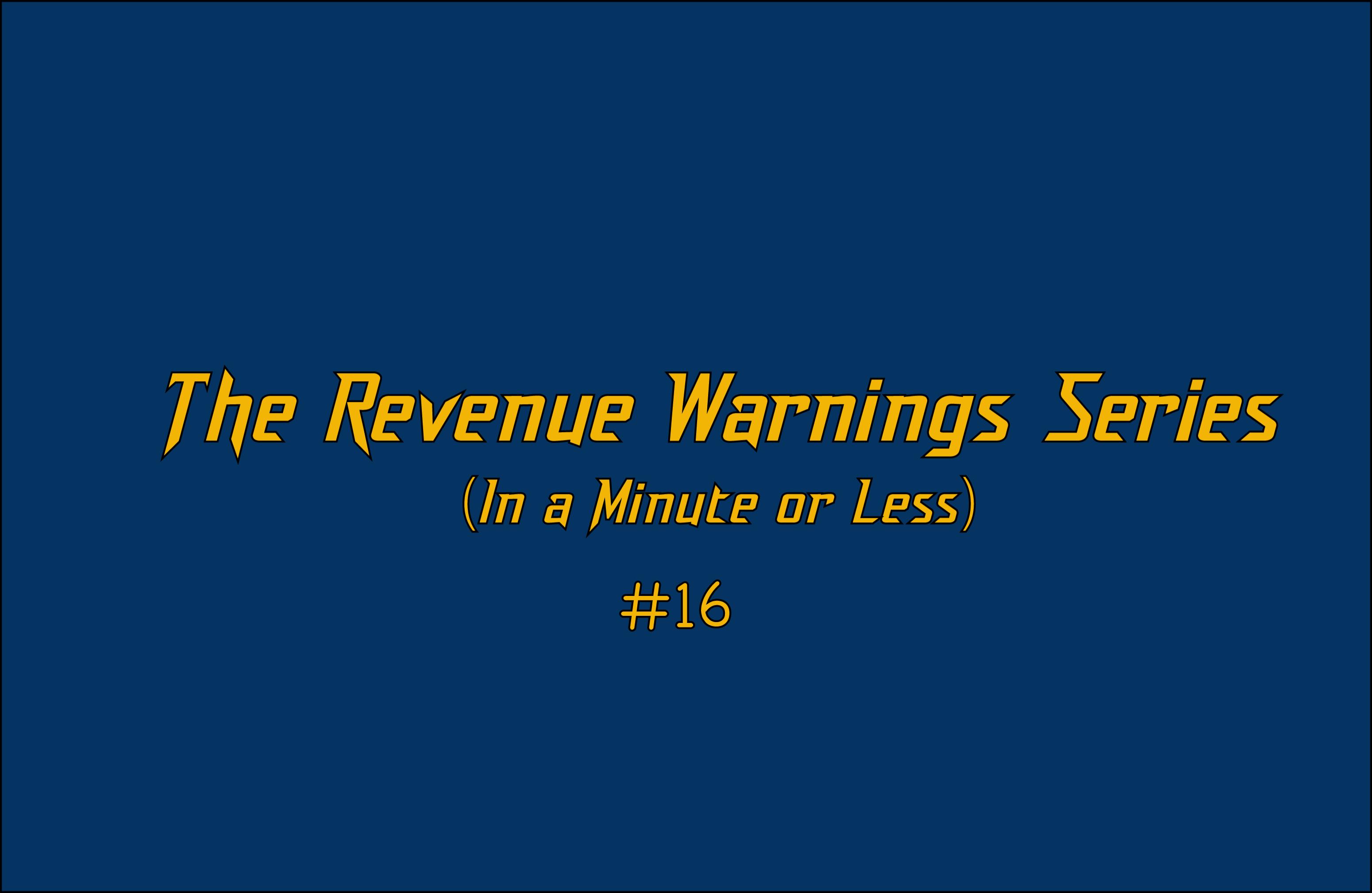 Revenue Warning #16: Don't Pivot #7